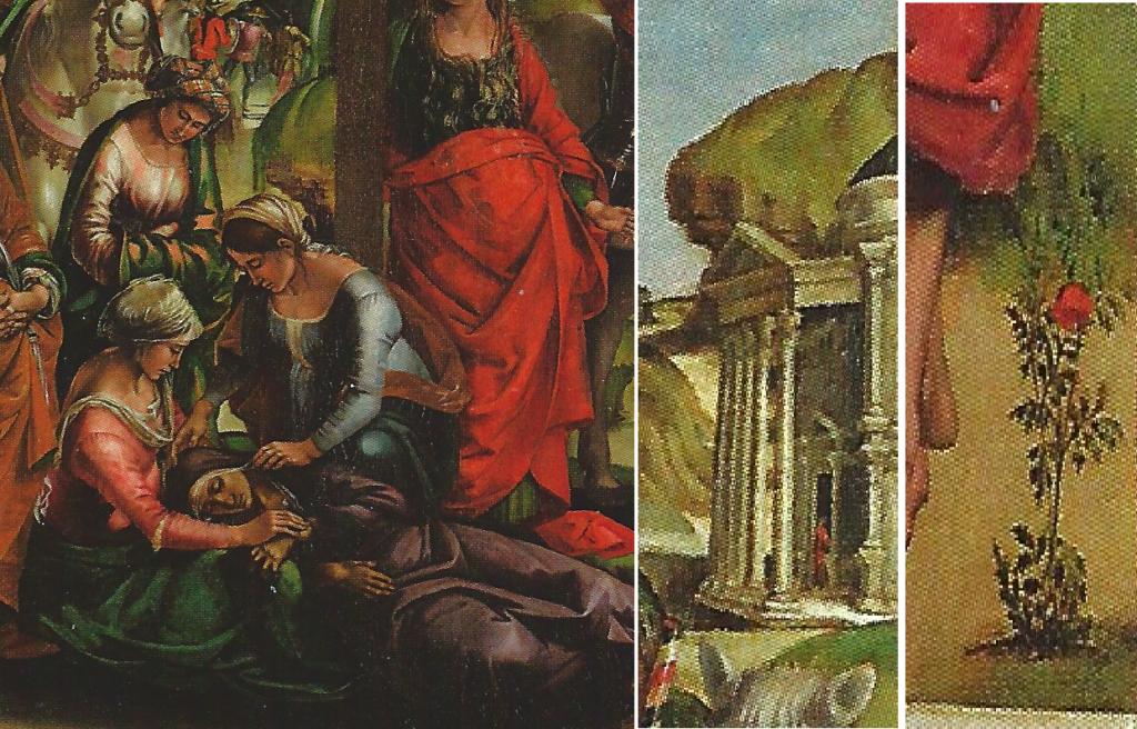 (particolari della Crocifissione. da sinistra a destra: Gruppo delle Marie, Pantheon, Garofano rosso)