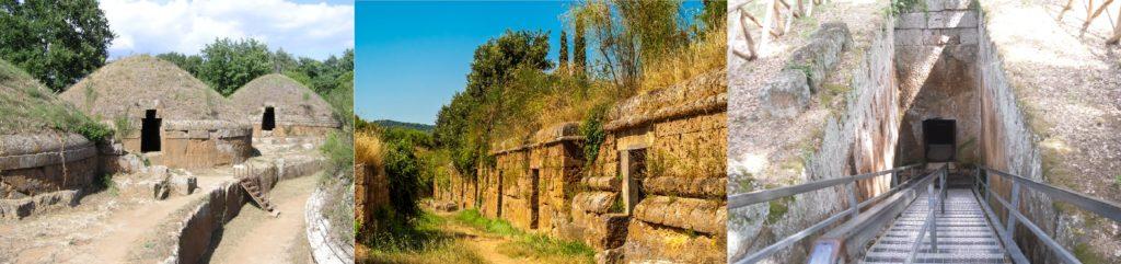 da sinistra a destra: tumoli, tombe a dado, ingresso Tomba dei Rilievi
