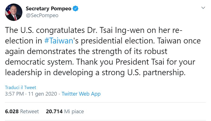 Tweet del Segratario di Stato statunitense Pompeo che si congratula per la vittoria di Tsai Ing-wen a Taiwan.