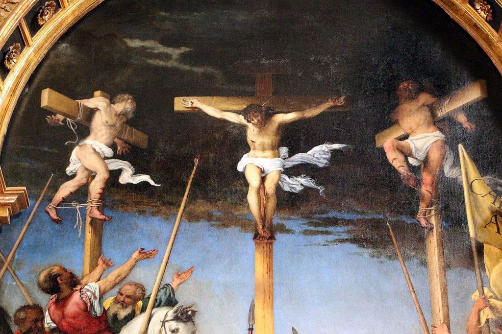 Lorenzo Lotto, Crocifissione, 1525-1530 ca., Chiesa di Santa Maria in Teleusiano, Monte San Giusto (MC)