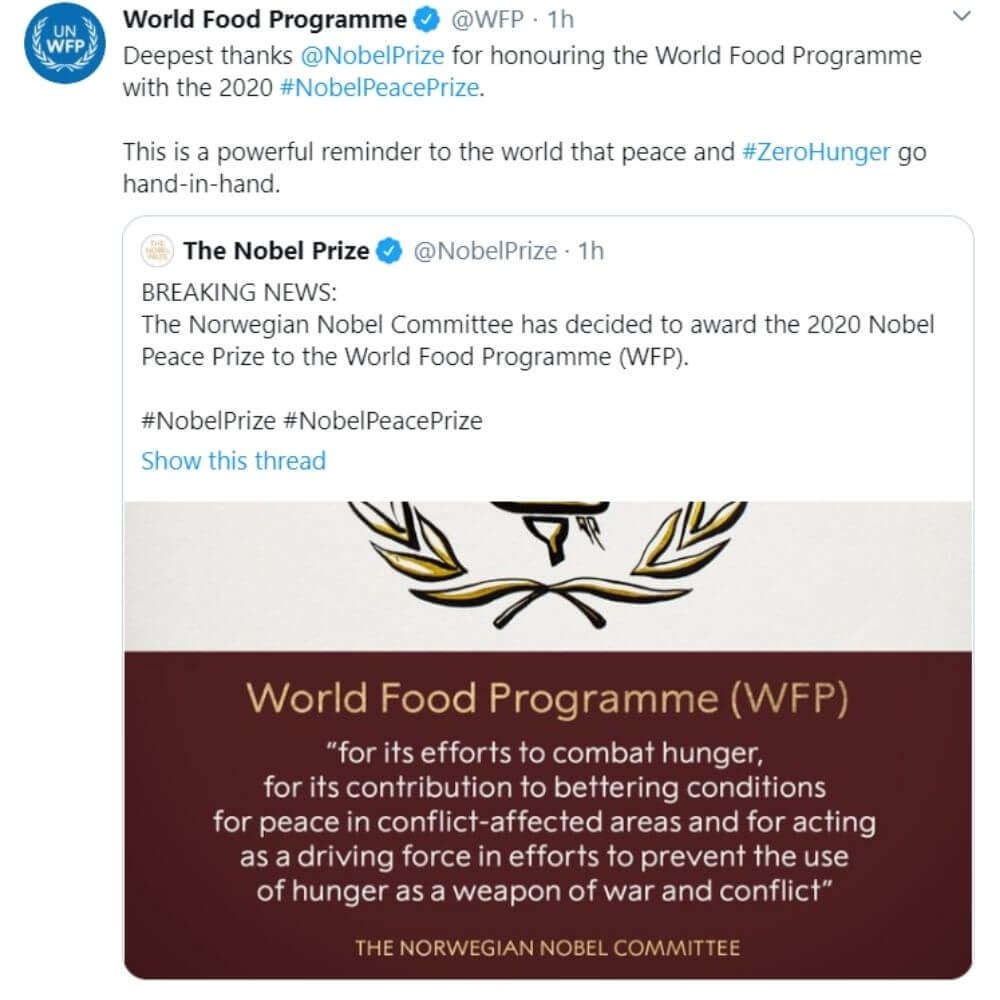 Premio Nobel per la pace al World Food Programme