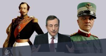 Da sinistra: Napoleone III, Mario Draghi, Pietro Badoglio
