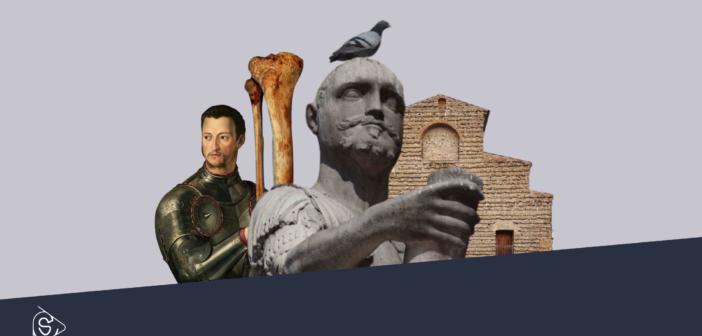da sinistra a destra: Cosimo I, osso della gamba di Giovanni delle Bande Nere, Monumento di Giovanni delle Bande Nere, Basilica di San Lorenzo.