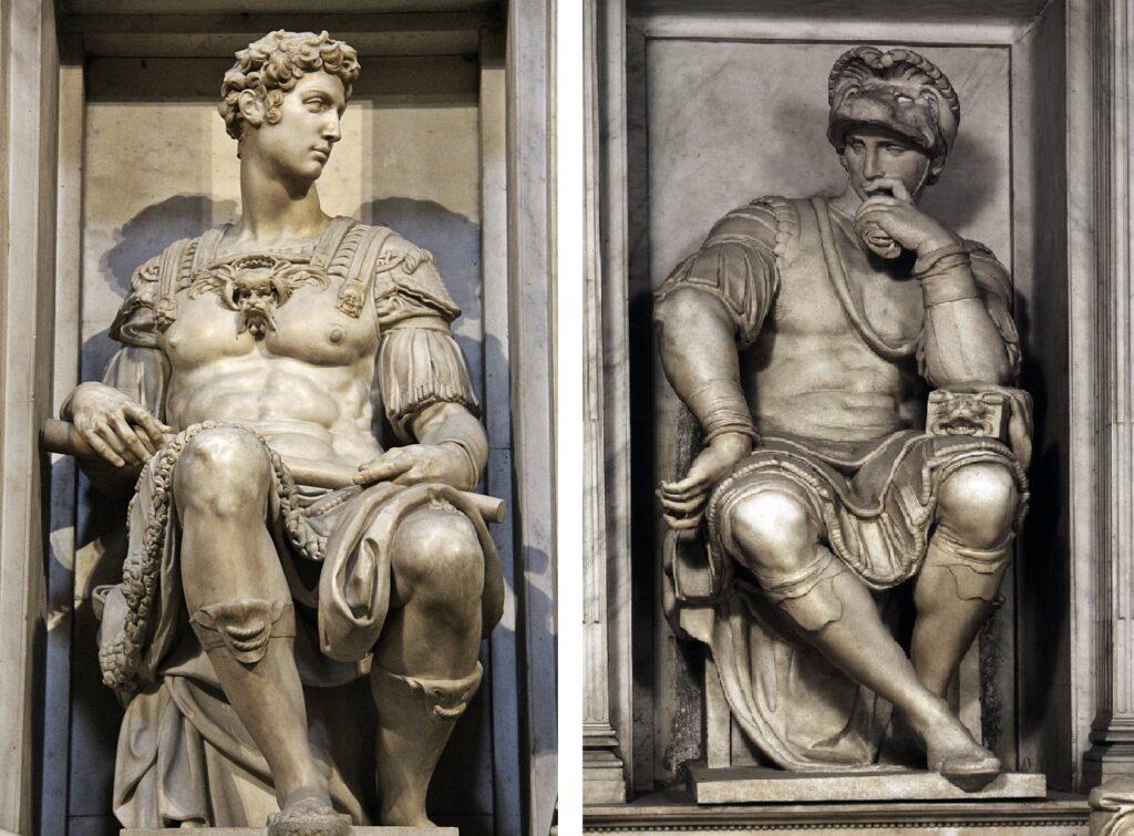 Michelangelo, Giuliano duca di Nemours e Lorenzo Duca di Urbino, Sagrestia Nuova, Basilica di San Lorenzo, Firenze