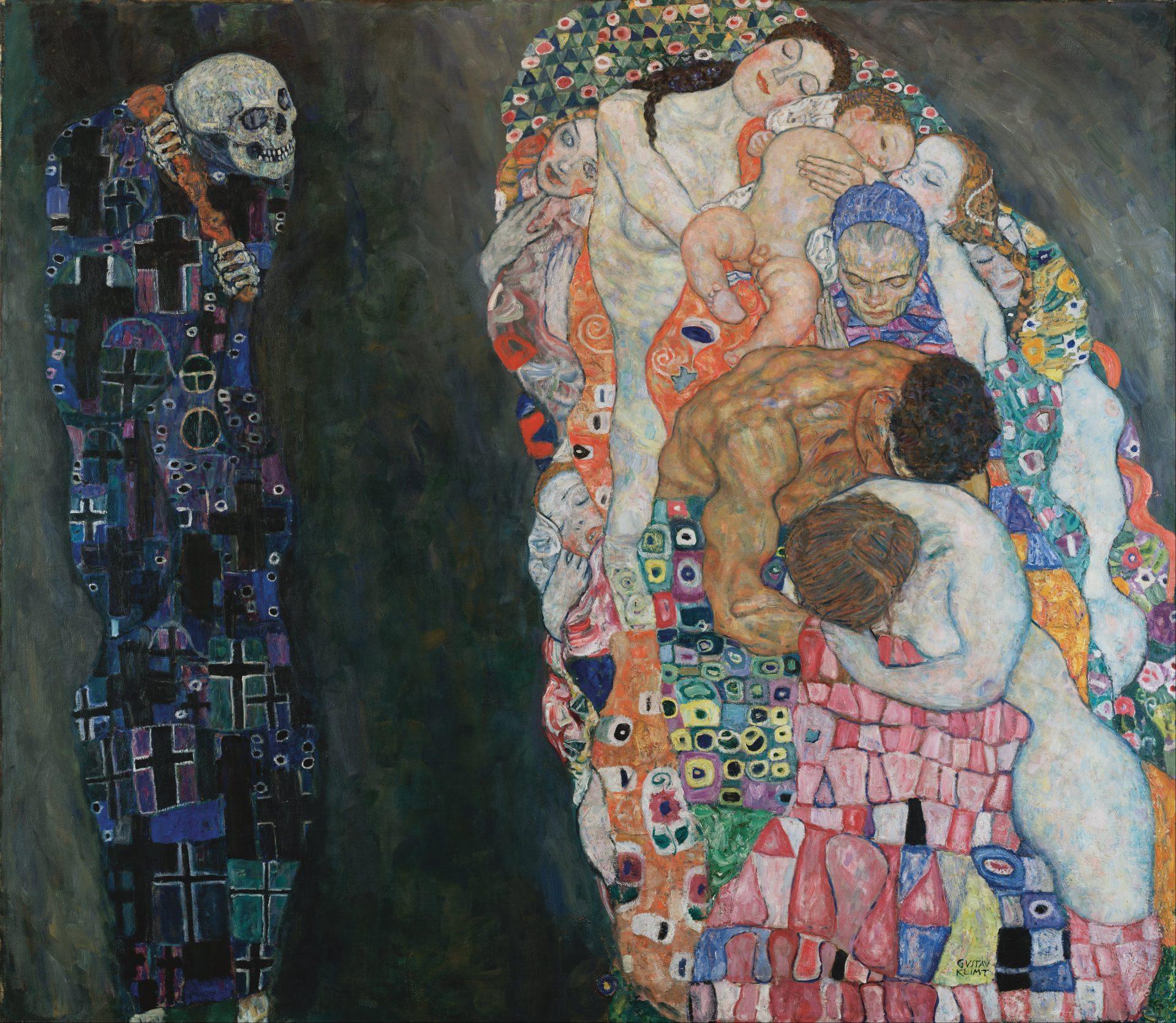 La Morte, a sinistra, vestita con un mantello blu dalla fantasia geometrica, osserva il gruppo di figure a destra composto di donne, un bambino ed un uomo. Lo sfondo scuro e i colori della Morte contrastano con i colori accesi del gruppo di persone.
