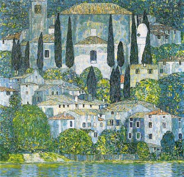Dipinto di paesaggio. Rappresenta una chiesa e alcune case circondate dalla vegetazione e affacciate sul Garda.